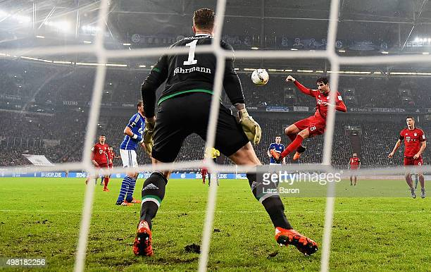 Javier Martinez of Muenchen heads his teams second goal during the Bundesliga match between FC Schalke 04 and FC Bayern Muenchen at VeltinsArena on...