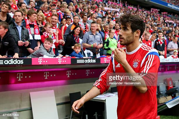 Javier Martinez of Muenchen sit on the bench for the Bundesliga match between FC Bayern Muenchen and Hertha BSC Berlin at Allianz Arena on April 25...
