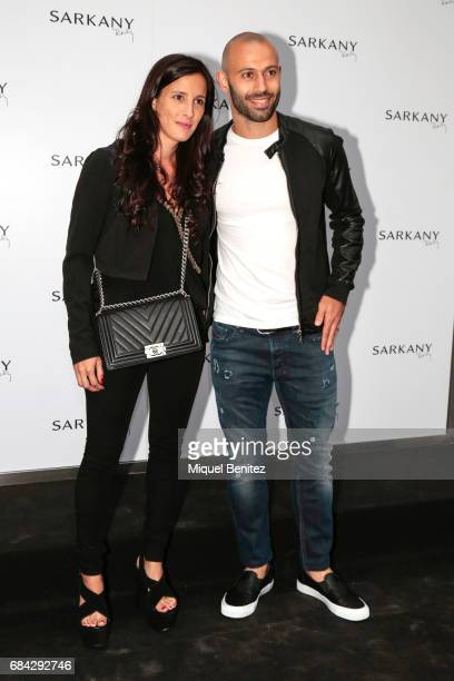 Javier Mascherano and Fernanda Moreno attend the Sarkany Shoes Boutique Openeing in Barcelona on May 17 2017 in Barcelona Spain