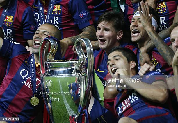 Javier Mascherano Lionel Messi Neymar Jr Luis Suarez celebrate the victory after the UEFA Champions League Final between Juventus Turin and FC...