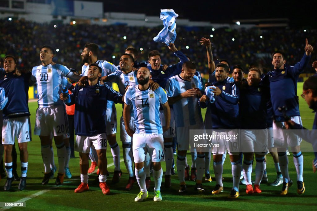 Javier Mascherano (C) of Argentina celebrates with teammates after winning a match between Ecuador and Argentina as part of FIFA 2018 World Cup Qualifiers at Olimpico Atahualpa Stadium on October 10, 2017 in Quito, Ecuador.