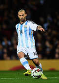 Javier Mascherano of Argentina in action during the International Friendly match between Argentina and Portugal at Old Trafford on November 18 2014...