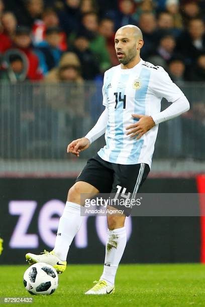 Javier Mascherano of Argentina in action during the international friendly match between Russia and Argentina at BSA OC 'Luzhniki' Stadium in Moscow...