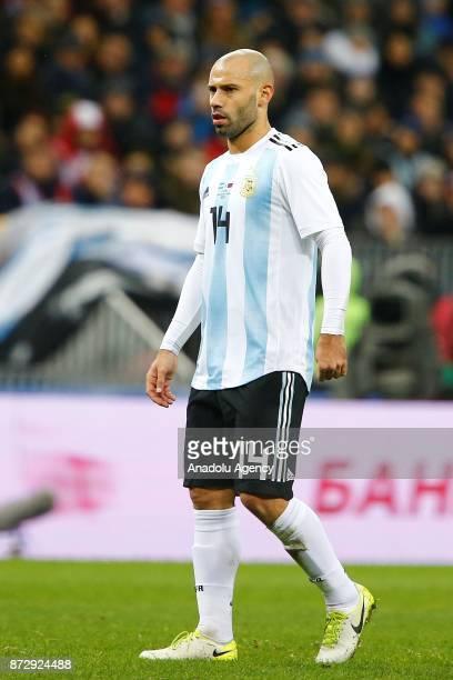 Javier Mascherano of Argentina is seen during the international friendly match between Russia and Argentina at BSA OC 'Luzhniki' Stadium in Moscow...