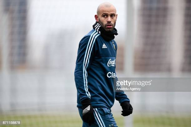Javier Mascherano of Argentina looks on during a training session at Spartak Stadium on November 7 2017 in Moscow Russia