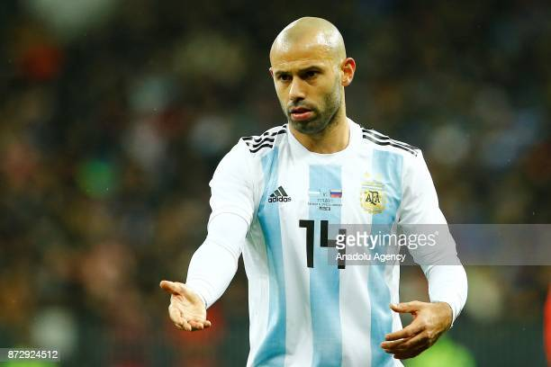 Javier Mascherano of Argentina reacts during the international friendly match between Russia and Argentina at BSA OC 'Luzhniki' Stadium in Moscow...