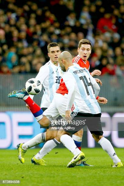 Javier Mascherano of Argentina vies for the ball during the international friendly match between Russia and Argentina at BSA OC 'Luzhniki' Stadium in...