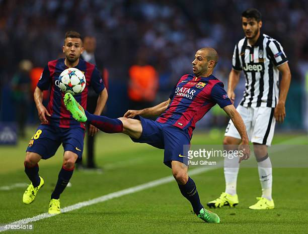 Javier Mascherano of Barcelona controls the ball during the UEFA Champions League Final between Juventus and FC Barcelona at Olympiastadion on June 6...