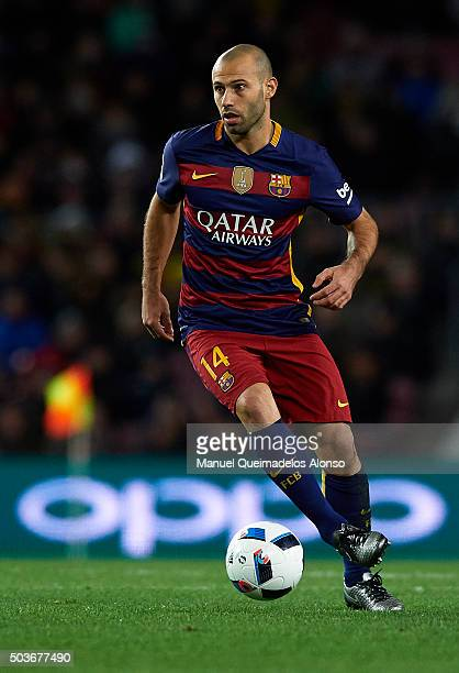 Javier Mascherano of Barcelona in action during the Copa del Rey Round of 16 match between FC Barcelona and Real CD Espanyol at Camp Nou on January 6...