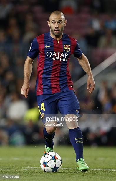 Javier Mascherano of Barcelona in action during the UEFA Champions League quarter final second leg match between FC Barcelona and Paris SaintGermain...