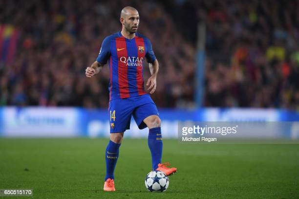 Javier Mascherano of Barcelona in action during the UEFA Champions League Round of 16 second leg match between FC Barcelona and Paris SaintGermain at...