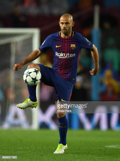 Javier Mascherano of Barcelona in action during the UEFA Champions League group D match between FC Barcelona and Olympiakos Piraeus at Camp Nou on...