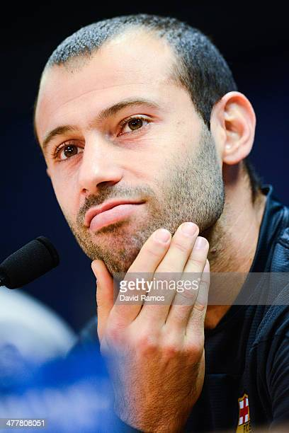 Javier Mascherano of FC Barcelona faces the media during a press conference ahead the UEFA Champions League Round of 16 second Leg match against...