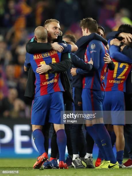Javier Mascherano of FC Barcelona goalkeeper Jasper Cillessen of FC Barcelona Gerard Pique of FC Barcelona Rafinha of FC Barcelonaduring the UEFA...