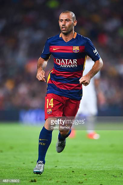 Javier Mascherano of FC Barcelona looks on during the Joan Gamper trophy match at Camp Nou on August 5 2015 in Barcelona Spain