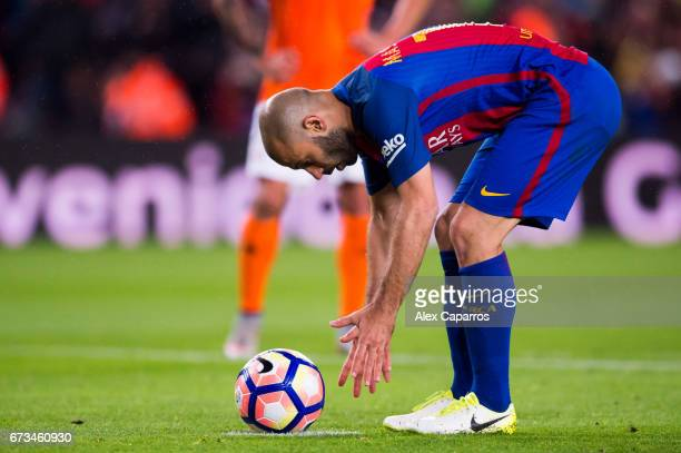Javier Mascherano of FC Barcelona prepares to shoot a penalty kick during the La Liga match between FC Barcelona and CA Osasuna at Camp Nou stadium...