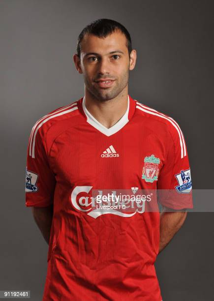 Javier Mascherano of Liverpool FC poses during a Liverpool FC 2009/2010 season photocall in Liverpool England