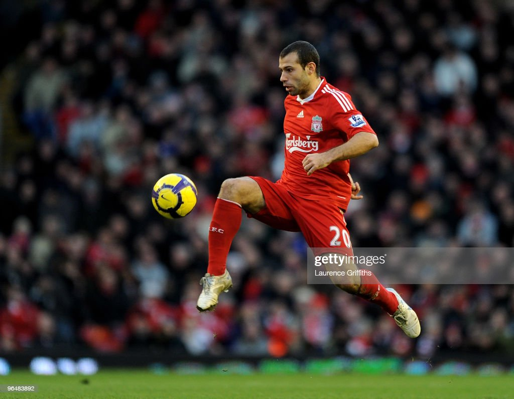 <a gi-track='captionPersonalityLinkClicked' href=/galleries/search?phrase=Javier+Mascherano&family=editorial&specificpeople=490876 ng-click='$event.stopPropagation()'>Javier Mascherano</a> of Liverpool in action during the Barclays Premier League match between Liverpool and Bolton Wanderers at Anfield on January 30, 2010 in Liverpool, England.