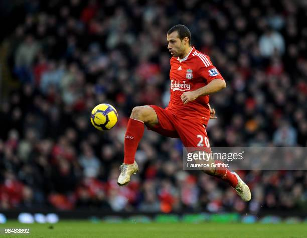 Javier Mascherano of Liverpool in action during the Barclays Premier League match between Liverpool and Bolton Wanderers at Anfield on January 30...