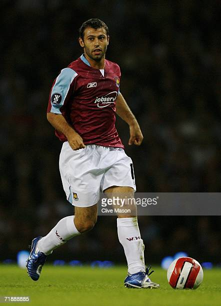 Javier Mascherano of West Ham controls the ball during the UEFA Cup first round first leg match between West Ham United and Palermo at Upton Park on...