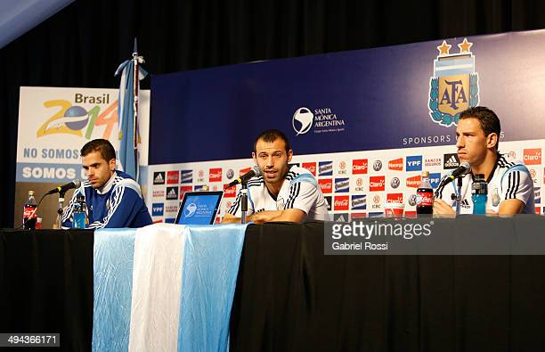 Javier Mascherano speaks during a press conference joined by Fernando Gago and Maximiliano Rodriguez at Ezeiza Training Camp on May 28 2014 in Ezeiza...