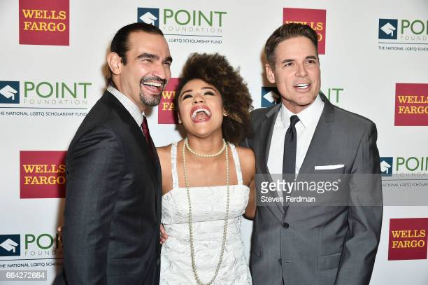 Javier Munoz Ariana DeBose and Jorge Valencia attend Point Honors Gala at The Plaza Hotel on April 3 2017 in New York City