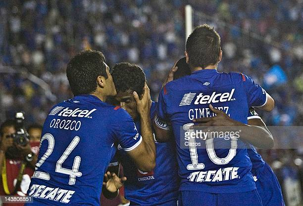 Javier Orozco of Cruz Azul celebrates a goal during a match between Cruz Azul of Mexico and Libertad of Paraguay as part of Libertadores Cup 2012 at...