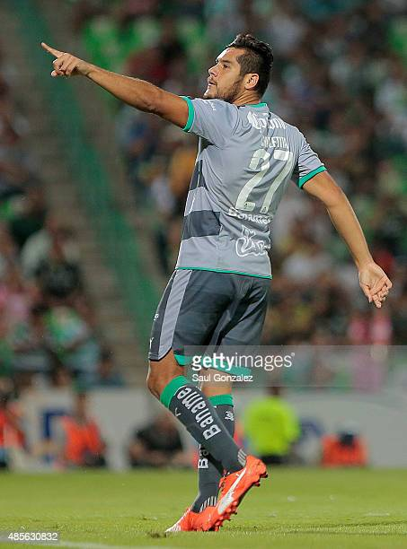 Javier Orozco of Santos celebrates after scoring the first goal of his team during a 7th round match between Santos Laguna and Pumas UNAM as part of...