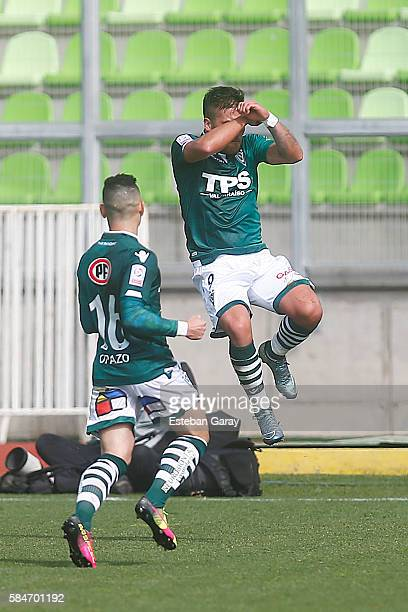 Javier Parraguez of Santiago Wanderers celebrates the first goal against Universidad de Chile during a match between Santiago Wanderers and...