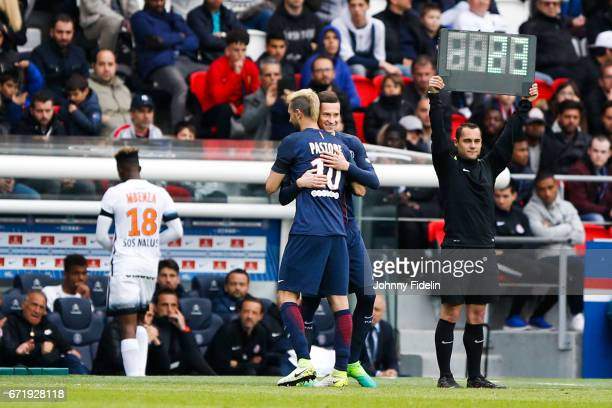 Javier Pastore and Julian Draxler of Paris Saint Germain during the French Ligue 1 match between Paris Saint Germain and Montpellier Herault at Parc...