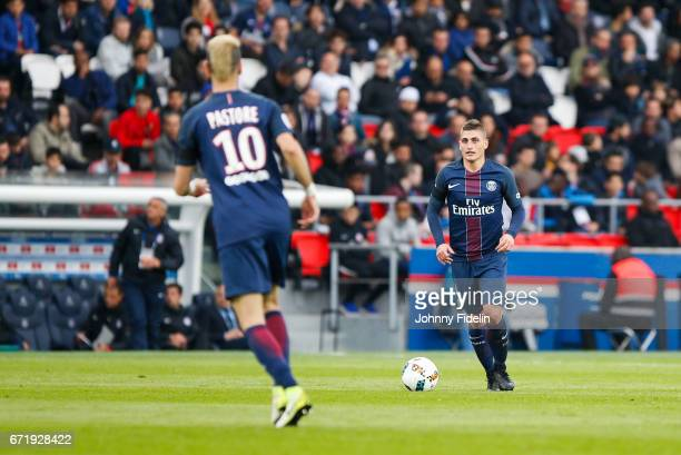 Javier Pastore and Marco Verratti of Paris Saint Germain during the French Ligue 1 match between Paris Saint Germain and Montpellier Herault at Parc...