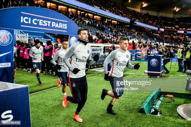 Javier Pastore and Marco Verratti of PSG during the French Ligue 1 match between Paris Saint Germain and Lyon at Parc des Princes on March 19 2017 in...