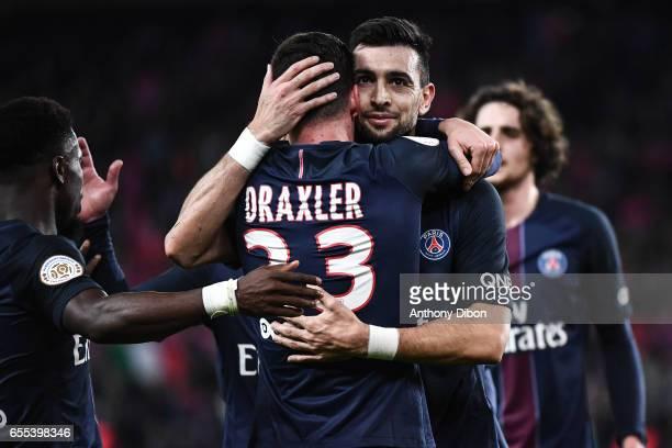 Javier Pastore celebrates a goal with Julian Draxler of PSG during the French Ligue 1 match between Paris Saint Germain and Lyon at Parc des Princes...