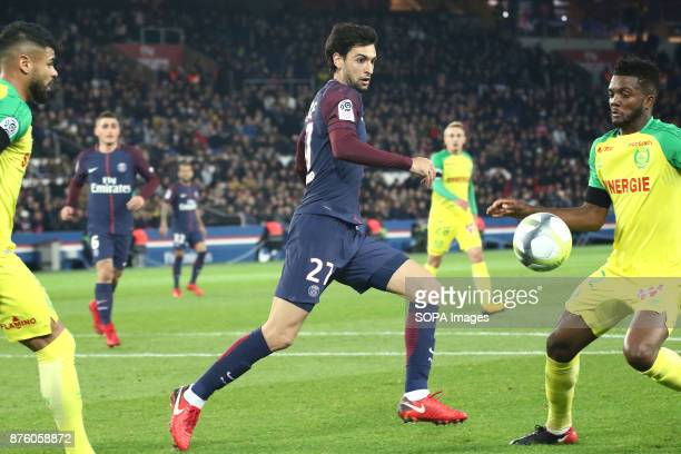 Javier Pastore in action during the French Ligue 1 soccer match between Paris Saint Germain and FC Nantes at Parc des Princes
