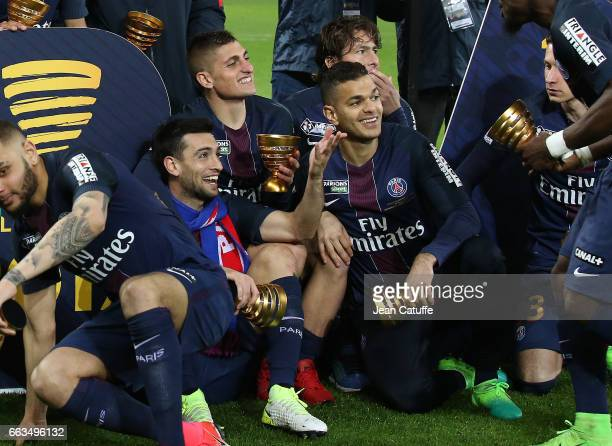 Javier Pastore Marco Verratti Hatem Ben Arfa of PSG celebrate the victory following the French League Cup final between Paris SaintGermain and AS...