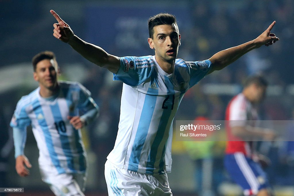 Javier Pastore of Argentina celebrates after scoring the second goal of his team during the 2015 Copa America Chile Semi Final match between Argentina and Paraguay at Ester Roa Rebolledo Stadium on June 30, 2015 in Concepcion, Chile.