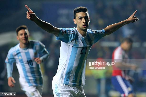 Javier Pastore of Argentina celebrates after scoring the second goal of his team during the 2015 Copa America Chile Semi Final match between...