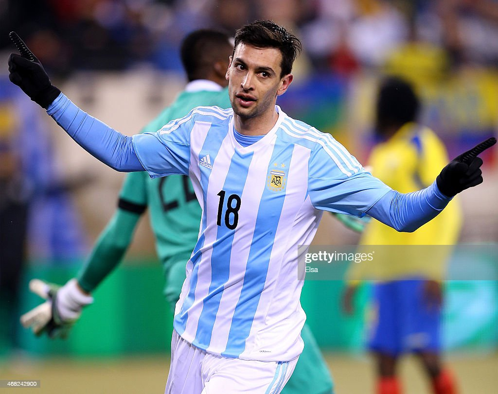 Javier Pastore #18 of Argentina celebrates his goalduring a friendly match at MetLife Stadium on March 31, 2015 in East Rutherford, New Jersey.Argentina defeated Ecuador 2-1.