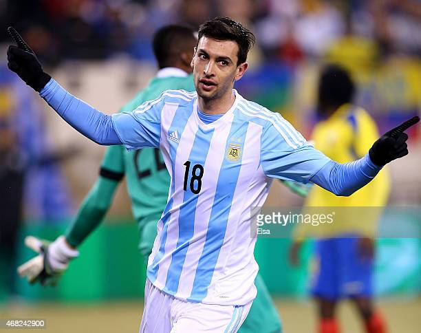 Javier Pastore of Argentina celebrates his goalduring a friendly match at MetLife Stadium on March 31 2015 in East Rutherford New JerseyArgentina...
