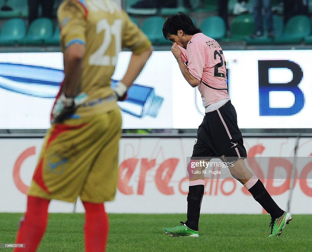 <a gi-track='captionPersonalityLinkClicked' href=/galleries/search?phrase=Javier+Pastore&family=editorial&specificpeople=5857872 ng-click='$event.stopPropagation()'>Javier Pastore</a> of Palermo (R) celebrates after scoring the 3-1 goal, his third, during the Serie A match between Palermo and Catania at Stadio Renzo Barbera on November 14, 2010 in Palermo, Italy.