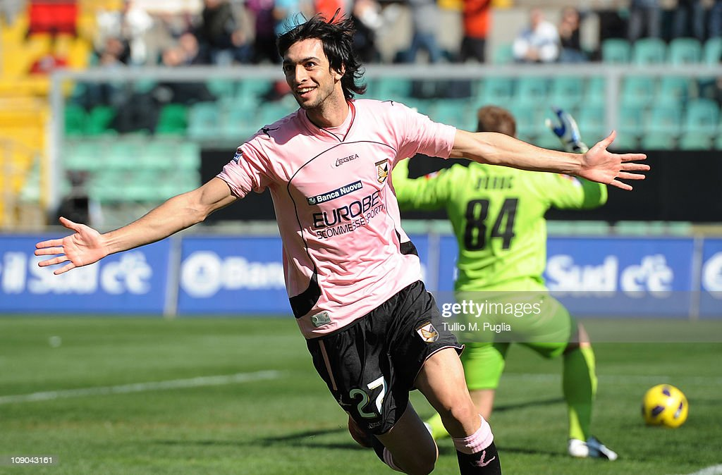 Javier Pastore of Palermo celebrates after scoring the opening goal during the Serie A match between US Citta di Palermo and ACF Fiorentina at Stadio Renzo Barbera on February 13, 2011 in Palermo, Italy.