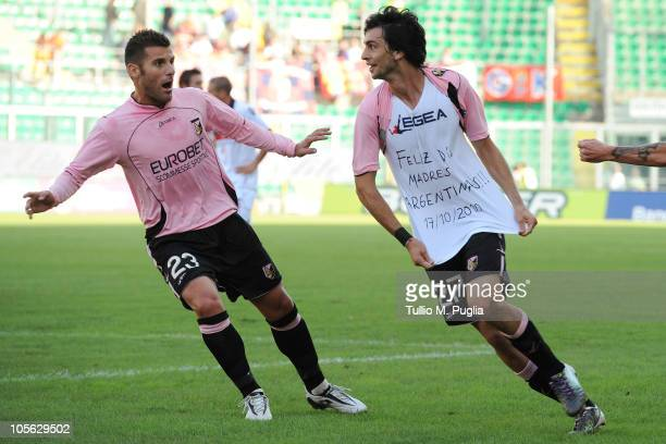 Javier Pastore of Palermo celebrates the opening goal with his team mate Antonio Nocerino during the Serie A match between US Citta di Palermo and...