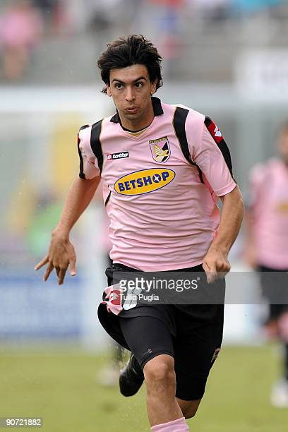 Javier Pastore of Palermo in action during the Serie A match played between US Citta di Palermo and AS Bari at Stadio Renzo Barbera on September 13...