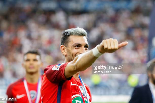 Javier Pastore of Paris Saint Germain celebrate the victory after winning the National Cup Final match between Angers SCO and Paris Saint Germain PSG...