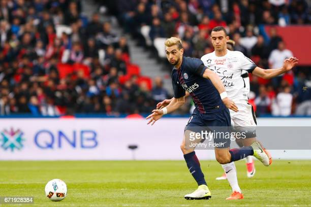 Javier Pastore of Paris Saint Germain during the French Ligue 1 match between Paris Saint Germain and Montpellier Herault at Parc des Princes on...