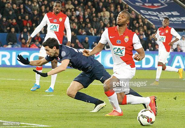 Javier Pastore of Paris SaintGermain and Almamy Toure of AS Monaco FC during the French Cup between Paris SaintGermain and AS Monaco FC at Parc Des...