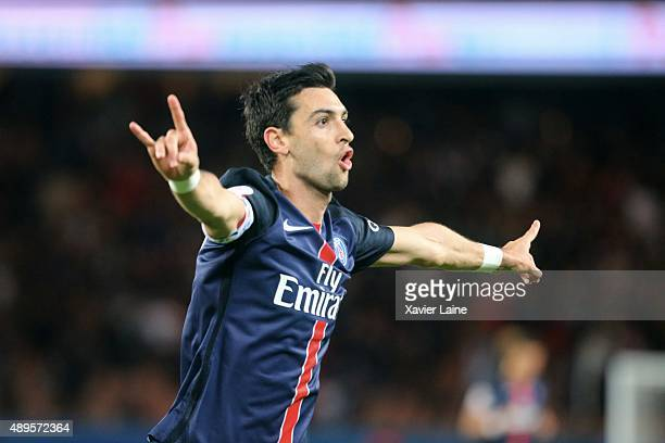 Javier Pastore of Paris SaintGermain celebrate his goal during the French Ligue 1 between Paris SaintGermain FC and EA Guingamp at Parc Des Princes...