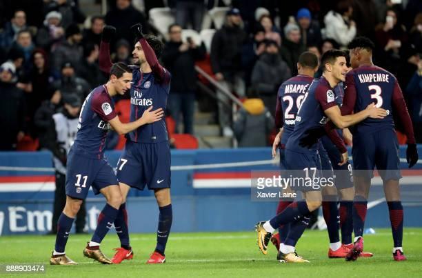 Javier Pastore of Paris SaintGermain celebrate his goal with Angel Di Maria and teammattes during the Ligue 1 match between Paris Saint Germain and...