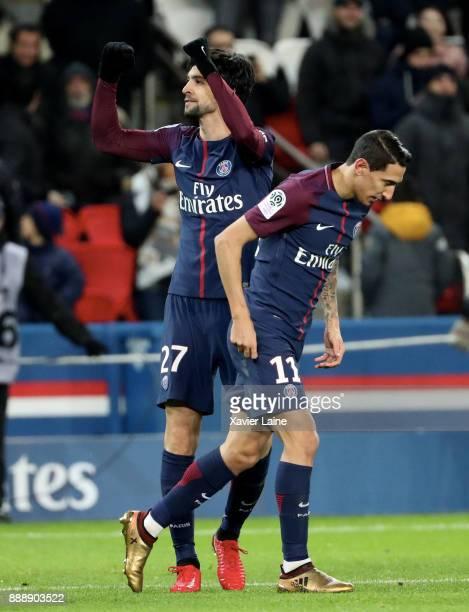 Javier Pastore of Paris SaintGermain celebrate his goal with Angel Di Maria during the Ligue 1 match between Paris Saint Germain and Lille OSC at...