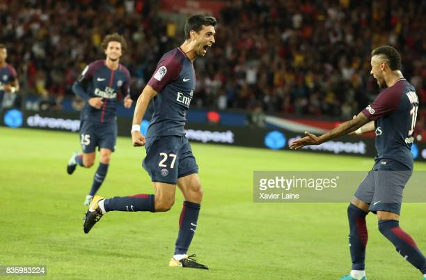 Javier Pastore of Paris SaintGermain celebrate his goal with Neymar Jr during the French Ligue 1 match between Paris Saint Germain and Toulouse FC at...